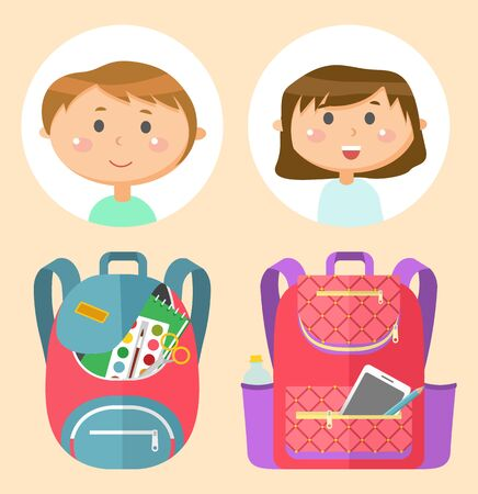 Backpacks or schoolbags with stationery, school children avatars. Rucksacks with books, girls and boys, sticker of smiling pupils or students, classmates and bags. Back to school concept. Flat cartoon Banque d'images - 132051235