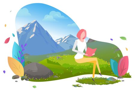 Woman working as distant worker vector, lady traveling in mountains. Female character with foliage and greenery of nature, traveling alone flat style. Mountain tourism. Flat cartoon