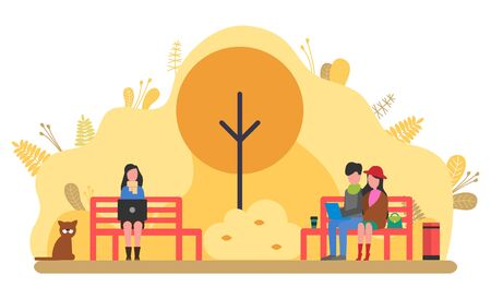 People relaxing in park vector, autumn nature season. Man and woman couple sitting on bench, workers on freelance, distant workers. Freelancers at work. Autumn yellow park Illusztráció
