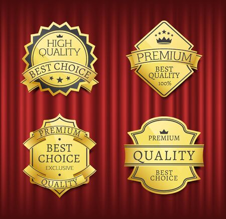 Mark or medal with ribbon, high quality, best choice. Guarantee golden sticker with stars and crown symbols, on red curtain, geometric emblem, store vector. Premium best quality, label inscription