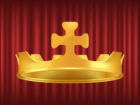 Golden crown decorated with cross. Symbol of royal dignity and power. Headdress for king or queen. Coronation ceremony accessory on red background vector. Red curtain theater background 写真素材 - 129655607