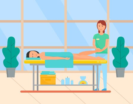 Beauty salon service of masseuse vector, lady laying on special table. Foot massage for client with towel on body. aromatherapy and treatment relax. Modern office with big windows