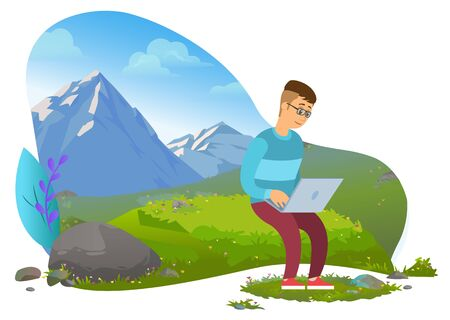 Man traveling and working online vector, male with laptop sitting on lawn surrounded by mountains. Character coding and programing while travel flat style. Mountain tourism. Flat cartoon