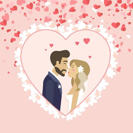 Bride and groom vector, kissing husband and wife wearing veil decorated with flower, hearts and romantic atmosphere. Wedding ceremony celebration. Flat cartoon
