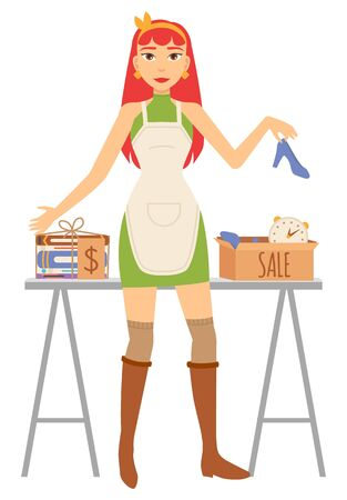 Woman seller holding high heel, footwear and clock in cardboard case, goods with dollar sticker on table. Garage sale, accessory retail, second sale vector. Event for sale used goods. Flat cartoon