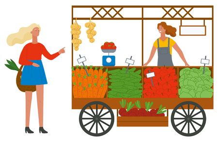Shopper female buying products, harvest festival of fair. Marketplace with carrot, cucumber and beet, cabbage and apple, harvest and buyer, grocery vector. Flat cartoon