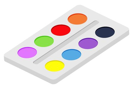 Palette of colors for painting with tassel vector for drawing paintings. Contains shades red and yellow green and blue, brown and violet. Equipment for watercolor paint. Flat cartoon