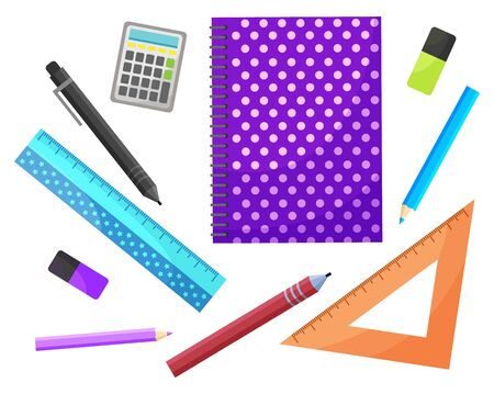 School elements vector, isolated supplies for lessons. Notebook and pencil, pen and ruler, eraser and calculator. Preparation for education and knowledge. Back to school concept. Flat cartoon