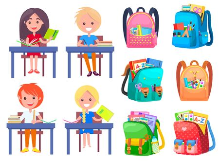 Smiling classmates sitting at desktop with notebook, backpack sticker on white. Girl and boy studying, pen and pencil in school bag, education sign vector. Back to school concept. Flat cartoon Stock Illustratie