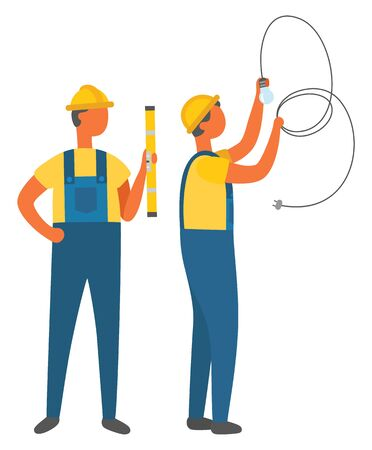 Electrician holding light bulb with tube, construction worker with ruler. Repairman wearing helmet and uniform, builder and electric occupation vector. Flat cartoon Banque d'images - 129655679