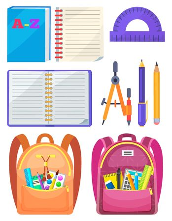 Backpack with chancellery, dividers and pen with pencil, notebook and ruler. School bag with chancery, educational element on white, sticker vector. Back to school concept. Flat cartoon