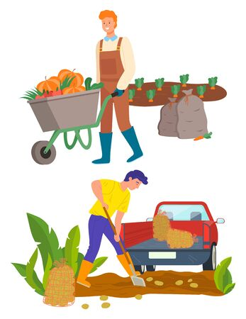 Man with carriage transporting pumpkins vector, male on plantation using shovel. Tractor lorry with potato, agricultural worker on field flat style. Farmer work on farm