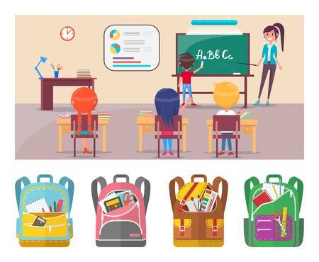 Children learning alphabet at school lesson with teacher. Boy standing near blackboard with chalk and writing letters vector. Teacher asking question to class. Back to school concept. Flat cartoon