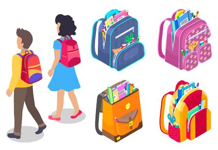 Little boy and girl pupils walking isolated on white. Set of colorful backpacks full of school supplies. Couple of kids with rucksacks vector. Back to school concept. Flat cartoon isometric 3d Stock Illustratie