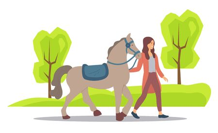 Forest nature vector, woman spending weekends with animals and natural park. Horse and female character touching mammal, mane or stallion flat style. Girl walking with brown horse