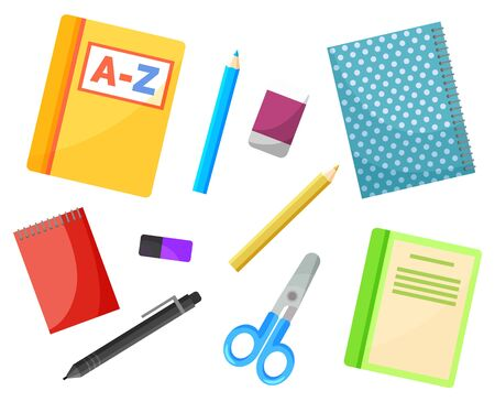 School textbook and copybook, stationery supplies vector. Alphabet book and notebook, pencil and pen, eraser and scissors, notepad isolated objects. Back to school concept. Flat cartoon