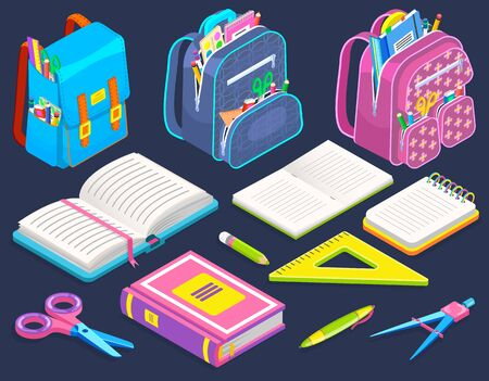 Schoolbags with stationery isolated on background. Opened book and notebooks. There are stuff on vector pencil and pen, ruler and scissors. Back to school concept. Flat cartoon isometric 3d Ilustração