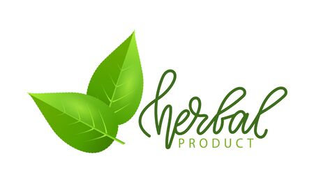 Herbal product isolated green leaves and lettering. Vector herbs and spices symbol, vegan food emblem. Natural nutrition greenery, flat style label Çizim