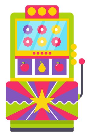 Classic retro arcade machine with joystick with colorful flowers and fruits on screen isolated on white. Old Vintage playing device, gaming room. Win money in slot mashine. Flat cartoon