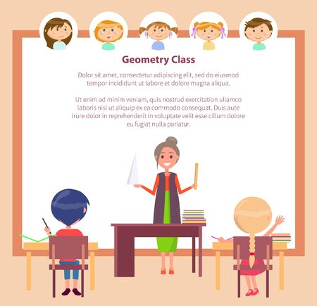 School education, geometry class and subject teacher vector. Pupils at desk and woman with ruler and cone model, knowledge and learning, boys and girls. Back to school concept. Flat cartoon