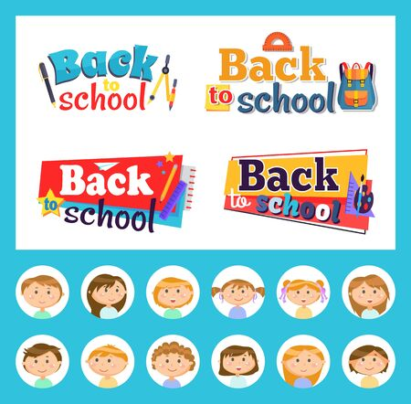 Stationery and pupils or students, back to school emblems vector. Divider and pen, ruler and backpack, pencil and paintbrush, palette and paper plane. Back to school concept. Flat cartoon