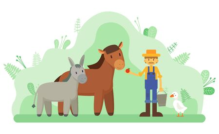 Horse and donkey in park, farmer and livestock, farming vector. Duck and man in overalls and straw hat feeding animal with apple, agriculture and farmland or ranch. Flat cartoon