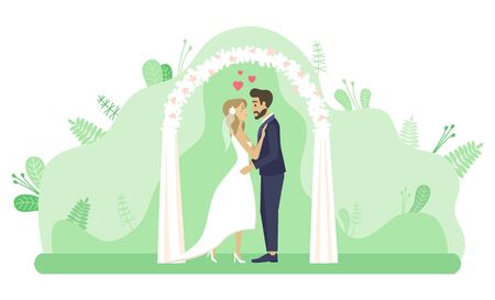 Man and woman standing by arch decorated for wedding vector, marriage ceremony. Couple in love kissing in park, foliage and flora, hearts romantic feelings Stock Illustratie