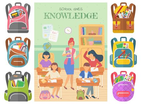 School gives knowledge vector, teacher with students raising hands to answer question. Set of bags with supplies, rulers and textbooks in classroom. Back to school concept. Flat cartoon Ilustracja