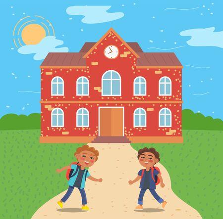 Schüler von der Schule laufen und spielen Vektor, Schüler mit Schulranzen auf dem Weg. Gebäudehülle, Fassade des Baus, Kindheit von Kindern im flachen Stil. Zurück zum Schulkonzept. Flache Karikatur