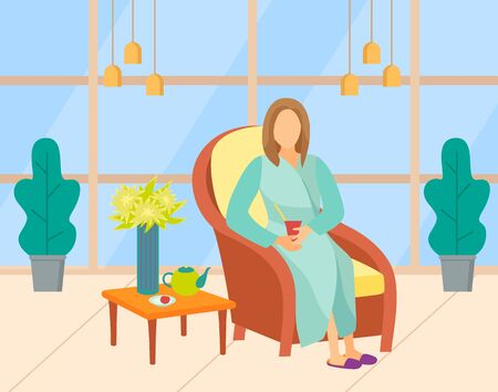 Woman wearing bathrobe and slippers drinking tea, client in beauty salon. Female character sitting in armchair, teapot on table, relaxation vector. Modern office of beauty salon with big windows