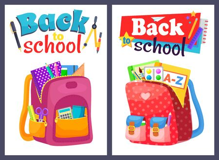 Colored school backpack. Education and study back to school, schoolbag luggage, rucksack vector illustration. Kids school bag with education equipment. Backpacks with study supplies. Student satchels Иллюстрация