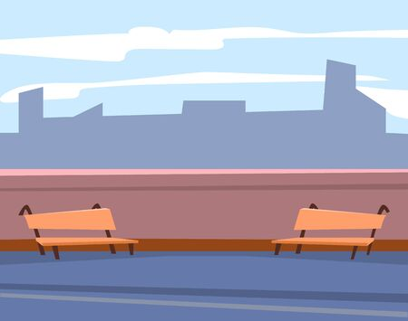 Bench outdoor, exterior of cafe or restaurant, urban and relax place. Skyscraper view, wooden seat on roof, buildings shadow, architecture vector. Application game development scene