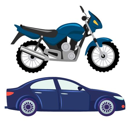 Sport car vector isolated transportation. Vehicle transport of cool modern type and shape. Motorbike and bike with seat, lorry. Buy new car and moto bike. Flat cartoon Фото со стока - 129655780