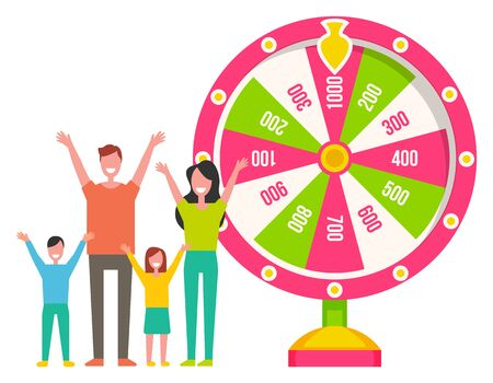 Family winning money prize, fortune wheel, success in gambling. Colorful lottery equipment, parents standing with kids near roulette machine, bingo vector