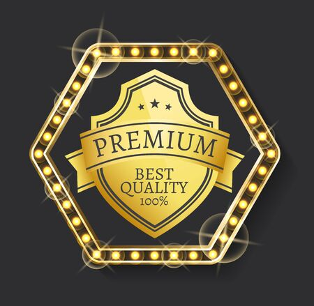 Guarantee 100 percent best quality. Golden badge decorated by stars and border with light bulbs, emblem of premium product, glossy certificate sign vector