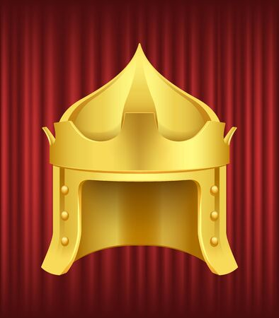 Golden middle age knight helmet. Ancient armour, medieval warrior, historical iron protection for head and face. Great Helm, antique symbols vector. Red curtain theater background