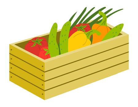 Box of harvest products, vegetables tomato, cucumber and onion, bell pepper healthy food. Wooden case with vegetarian food, farm element, harvesting vector