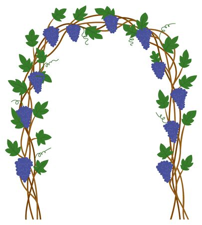 Grape gate, harvest festival in Europe, natural element of exterior. Terrace sign, branch with leaf, vineyard place, purple plant, entrance symbol vector