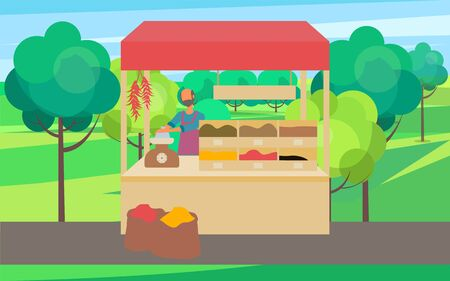 Man standing at counter of greengrocers shop or marketplace and selling fruits and vegetables. Fresh farm food, selling organic products tent, vendor in apron in park vector