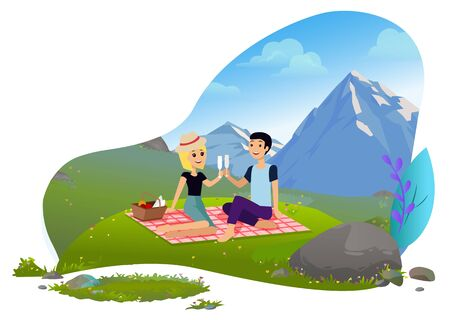 People drinking champagne in mountains vector, man and woman on nature having picnic. Natural environment and relaxation of pair green meadow flat. Mountain tourism Фото со стока - 129655787