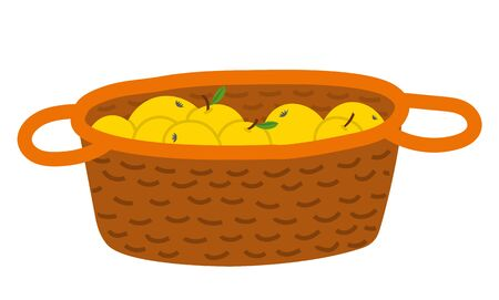 Wicker basket with yellow apples with leaves, picking fruit in wooden pottle. Sweet product, fresh nutrition, element of orchard, agricultural food vector. Picking apples concept. Flat cartoon Иллюстрация