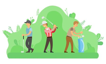 Men playing golf with putters, summer outdoor activity vector. Hitting ball and sack with sport equipment, leisure or pastime, game on lawn, golfers in park
