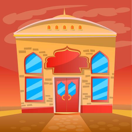 Place to eat vector, indian restaurant exterior flat style Asian diner. Food and dishes from asia, oriental style of construction, urban style business. Scene from application game. Flat cartoon