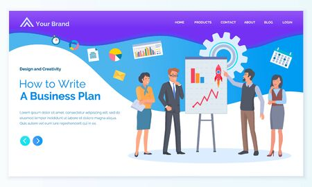 Workers standing near board with graph, people brainstorming. Man and woman discussing business plan, successful strategy, corporate technology vector. App slider template, landing page in flat style