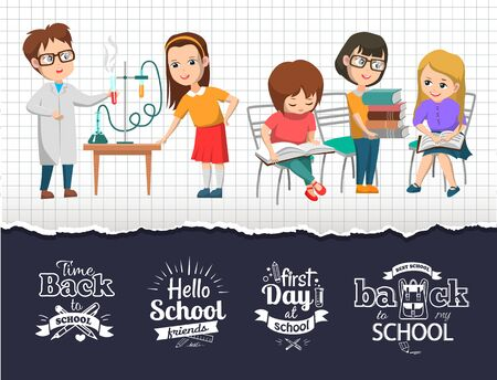 Back to school time design. Chemistry lab and science class education. Children doing experiment. Kids reading textbooks vector illustration. Back to school concept. Flat cartoon