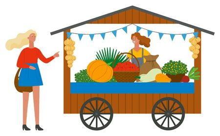 Trade tent with fresh ripe vegetables. Female vendor standing behind counter. Girls with basket buying fruits. Street stall or kiosk vector illustration Фото со стока - 129655835