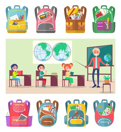Children sitting on geography lesson at school. Teacher explainind educational material to pupils using globe and hemispheres map vector. Sey of backpaks. Back to school concept. Flat cartoon Иллюстрация