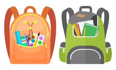 Colored school backpack. Education and study back to school, schoolbag luggage, rucksack vector illustration. Kids school bag with education equipment. Backpacks with study supplies. Student satchels Фото со стока - 129655837