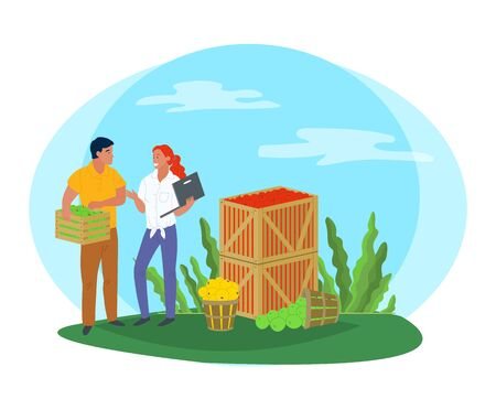 Smiling people selling apples, local product. Harvesting and picking apples in wooden containers, green trees, rustic product, business and laptop vector. Pick apples concept. Flat cartoon