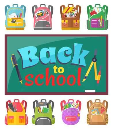 Stationery and backpacks, back to school text, chalkboard and schoolbags vector. Book and pencil, ruler and pen, divider and paintbrush, calculator and scissors. Back to school concept. Flat cartoon Фото со стока - 129655842